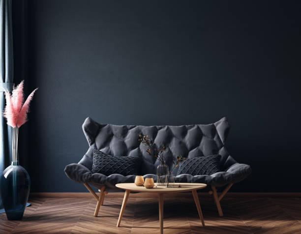 ホームインテリア、豪華なモダンな暗いリビングルームのインテリア、黒の空の壁モックアップ - ソファ 無人 ストックフォトと画像