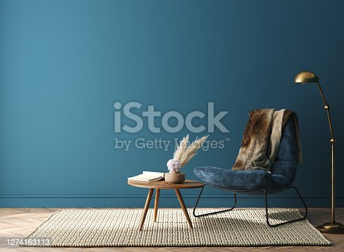 Home interior mock-up with dark green armchair, table and decor in living room, 3d render