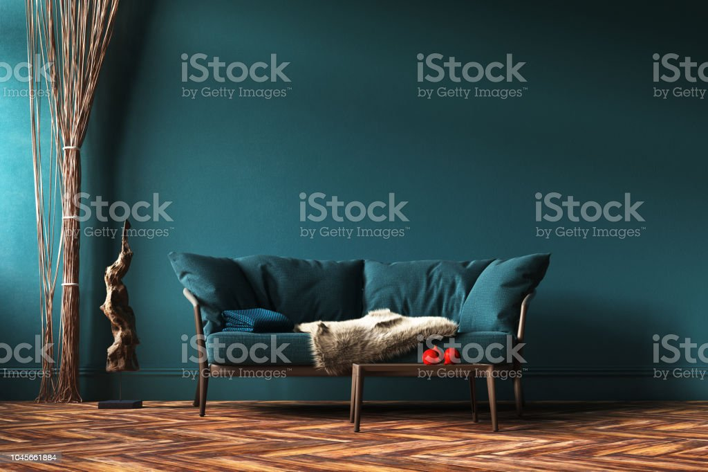Home Interior Mockup With Green Sofa Rope Curtains And Table In