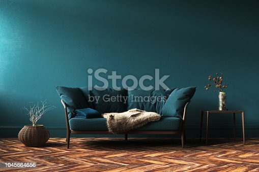 istock Home interior mock-up with green sofa, table and decor in living room 1045664656