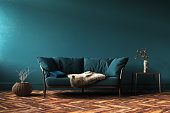 緑のソファー、テーブル、リビング ルームの装飾、ホーム インテリア モックアップ
