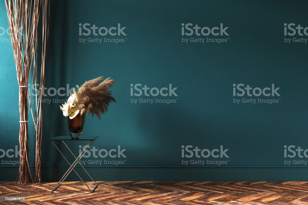 Home Interior Mockup With Rope Curtains And Bouquet Of Dried Flowers