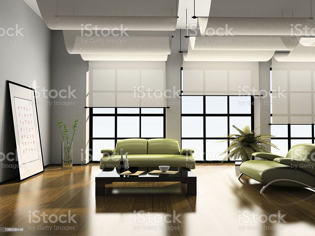 Home interior of a 3D rendering stock photo