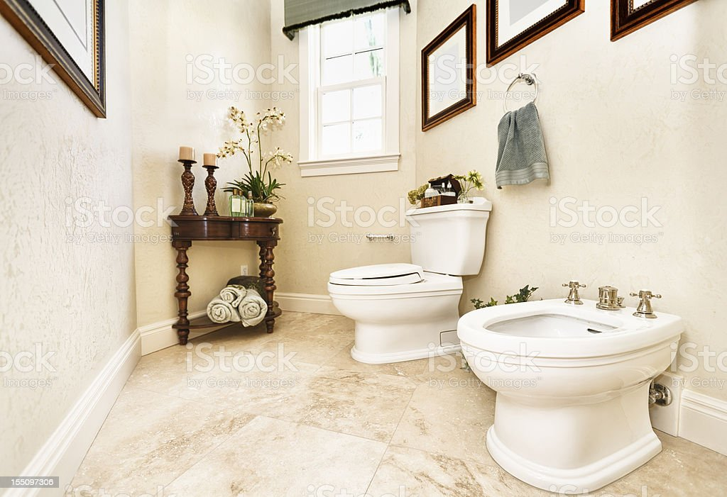 Home interior power room bathroom with bidet stock photo