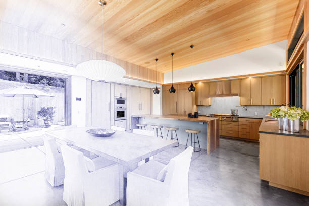 Home interior remodel construction with blueprint line drawing transition to blend fade into finished project stock photo