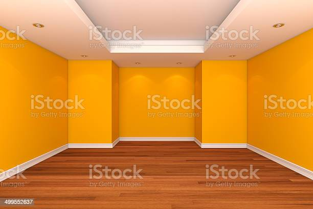 Home Interior Rendering With Empty Room Decorate Yellow Color Wa Stock Photo Download Image Now Istock