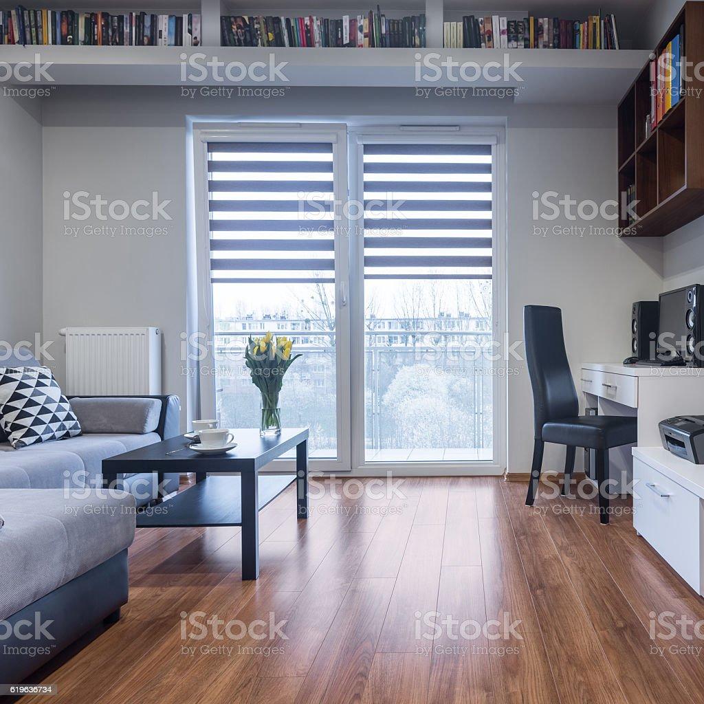 Home interior with balcony stock photo
