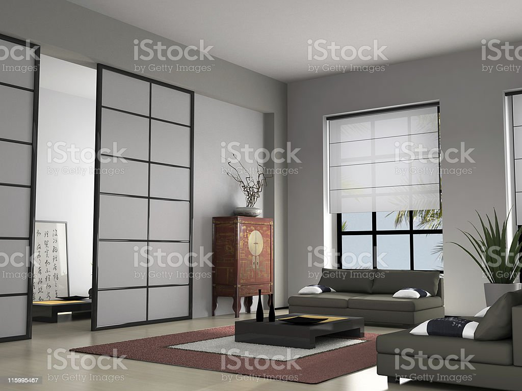 Home interior with Chinese furniture 3D rendering royalty-free stock photo