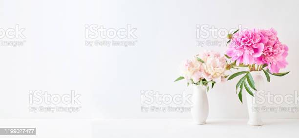 Home interior with decor elements pink peonies in a vase on a white picture id1199027477?b=1&k=6&m=1199027477&s=612x612&h=4jah0xn05xqzcrwnyz3gkk4sbfazmstrcsmfvmy0icg=