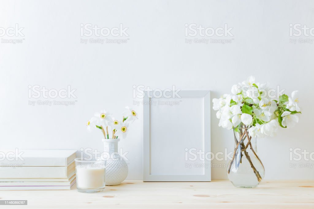 Home Interior With Decor Elements White Frame White Spring Flowers In A Vase Interior Decoration Stock Photo Download Image Now Istock