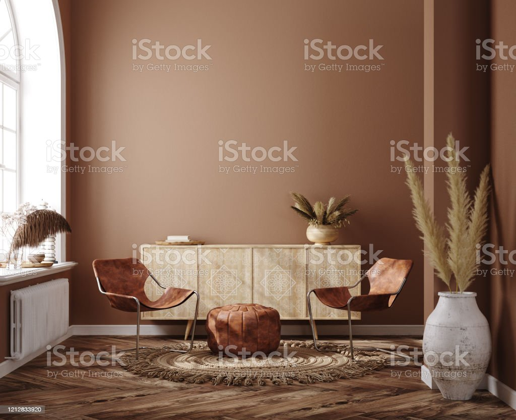 Home Interior With Ethnic Boho Decoration Living Room In Brown Warm Color Stock Photo Download Image Now Istock
