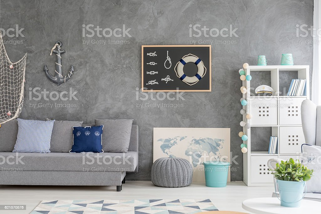 Home interior with marine decor photo libre de droits