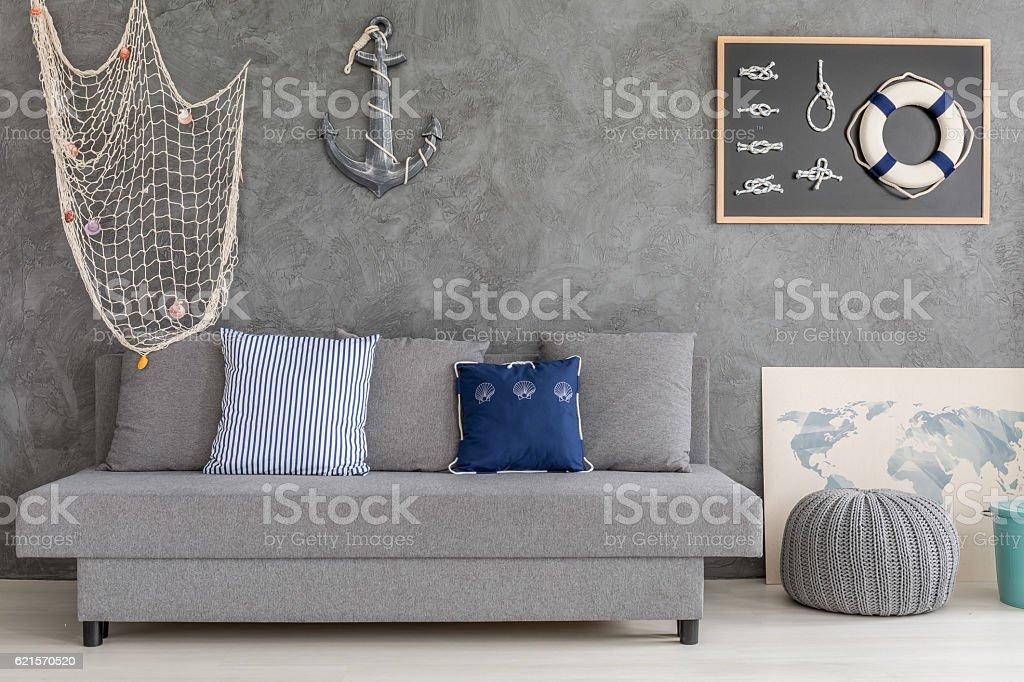 Home interior with nautical decorations photo libre de droits