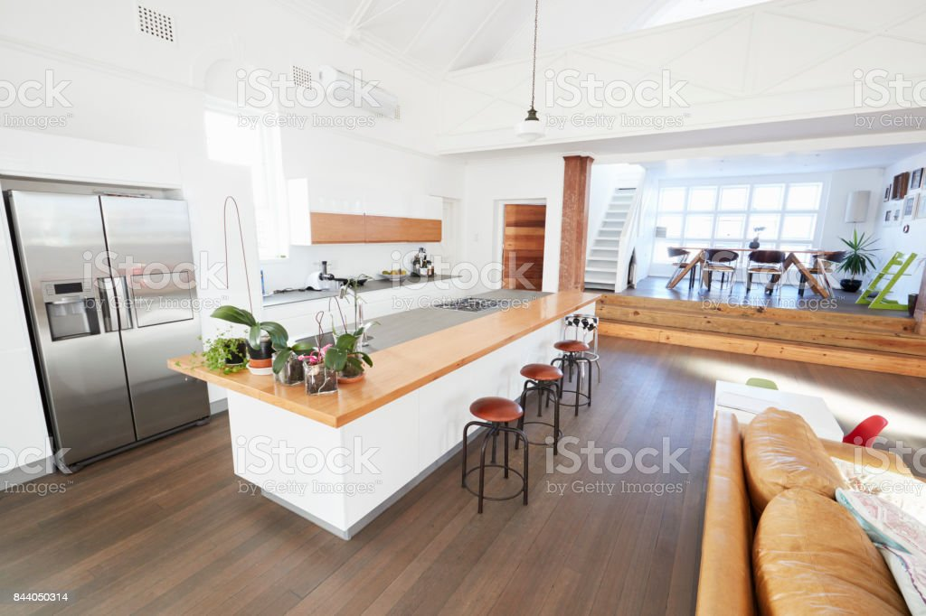 Home Interior With Open Plan Kitchen And Dining Area Stock ...