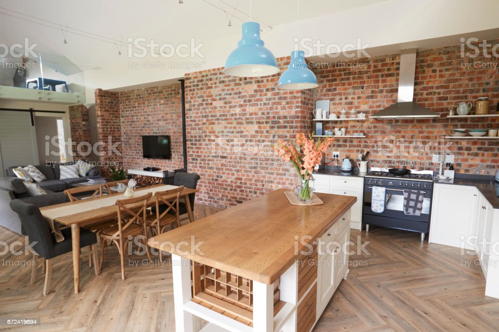 Home Interior With Open Plan Kitchen Lounge And Dining Area Stock Photo Download Image Now Istock