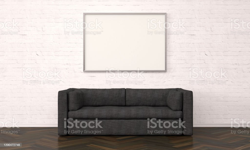 Home Interior With Picture Frame And Sofa Stock Photo Download Image Now Istock