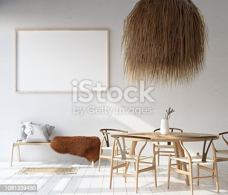 1027116110 istock photo Home interior with poster mock up, Scandinavian Bohemian style 1081339450