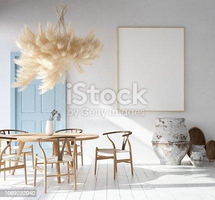 1027116110 istock photo Home interior with poster mockup, Scandinavian Bohemian style 1069232040