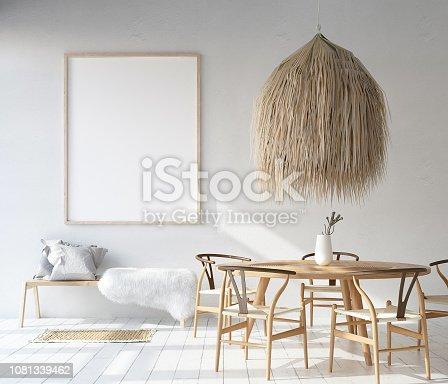 1027116110 istock photo Home interior with poster mockup, Scandinavian Bohemian style 1081339462