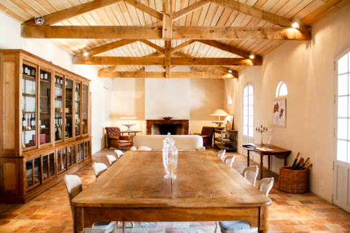 Home interior with roof beams