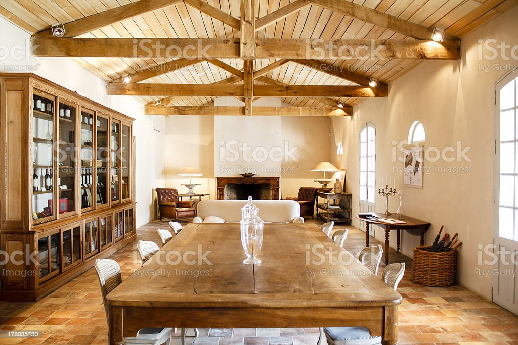 Home interior with roof beams stock photo
