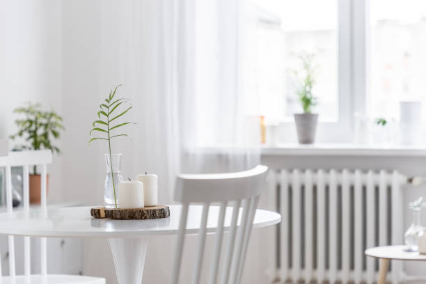 Home interior with white table stock photo