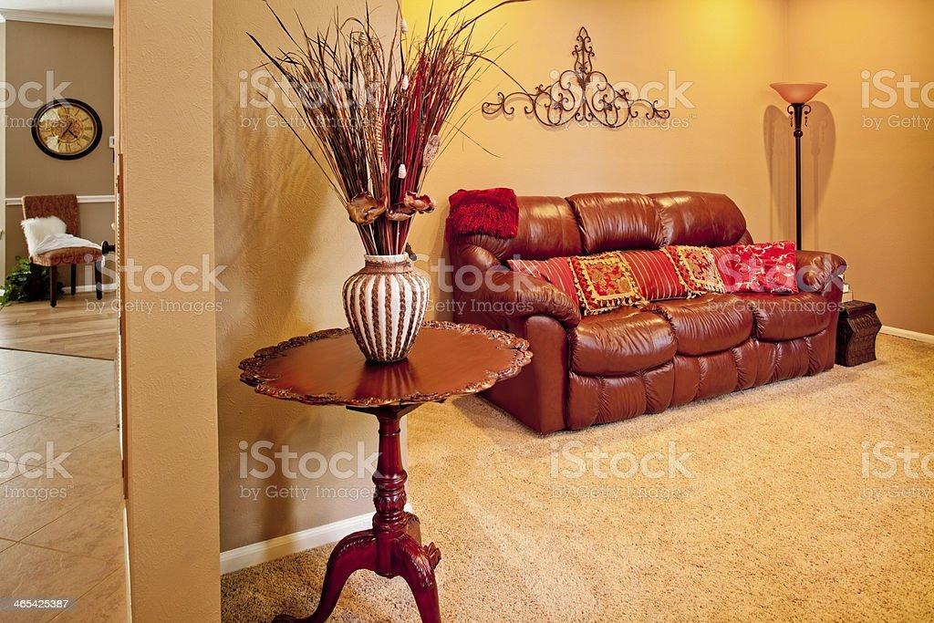 Home Interiors: Living room decor, furniture, sofa, table, vase. royalty-free stock photo