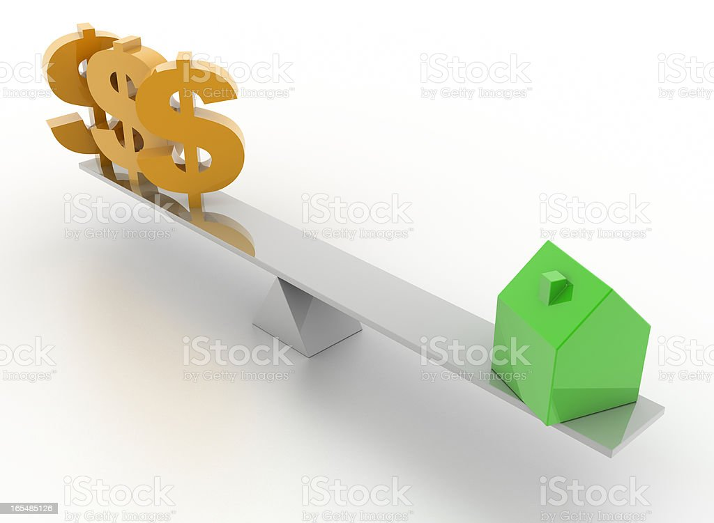 Home investment (isolated on white, Dollar symbol) royalty-free stock photo