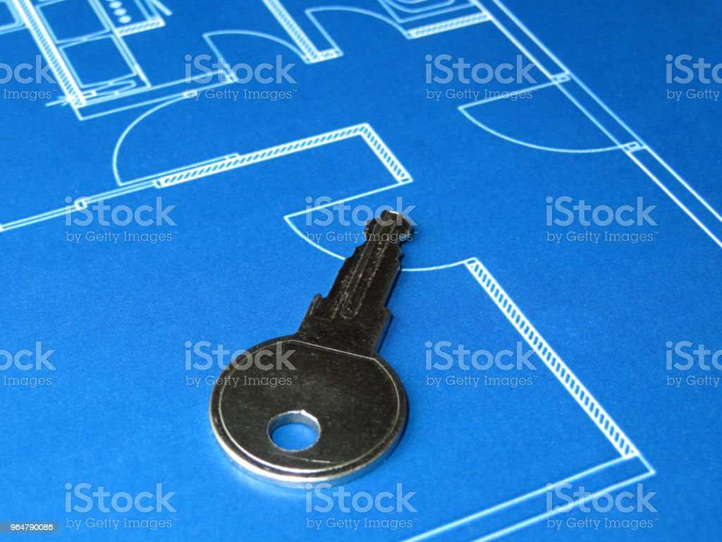 Home key on the apartment plan royalty-free stock photo