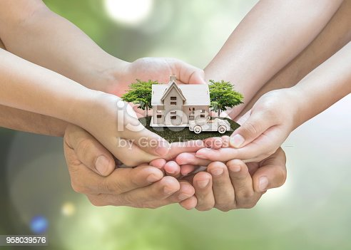 958039576 istock photo Home loan, car insurance, family assurance protection, and private property legacy planning concept 958039576