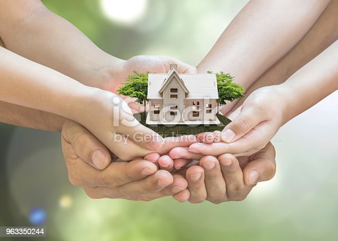 958039576 istock photo Home loan, car insurance, family assurance protection, and private property legacy planning concept 963350244