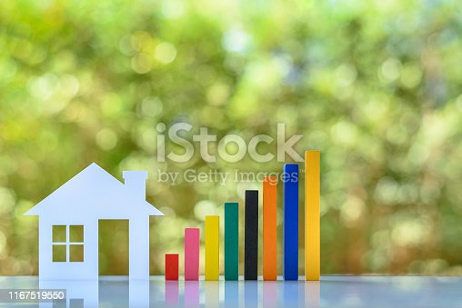 Home loan / reverse mortgage, asset refinancing concept : Small house or home with rising graph, depicts a homeowner or a borrower turns properties into cash, saving money to buy shelter, basic needs
