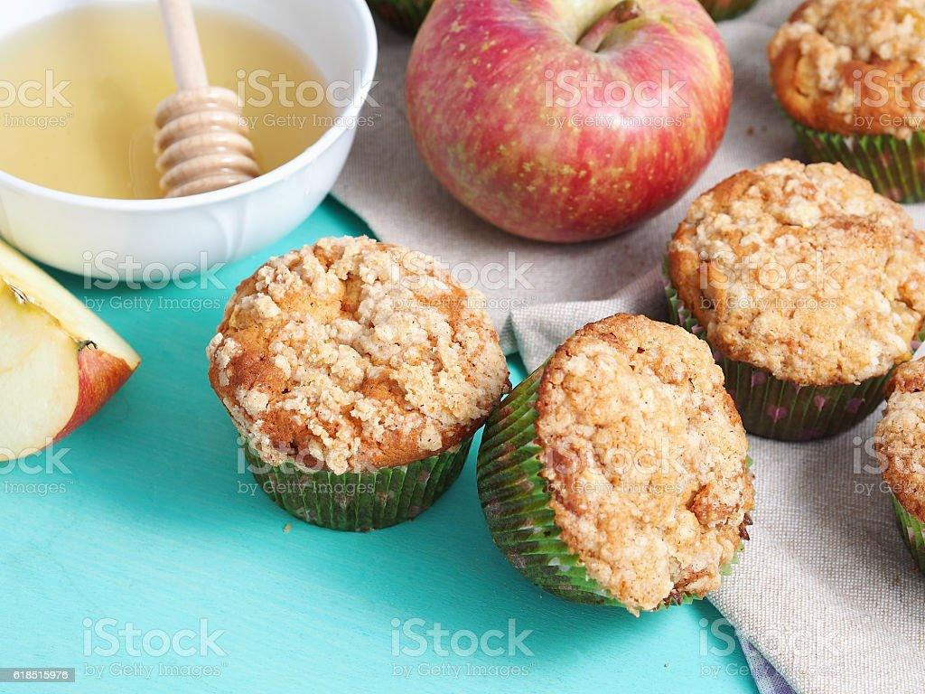 Home made apple muffins with honey stock photo