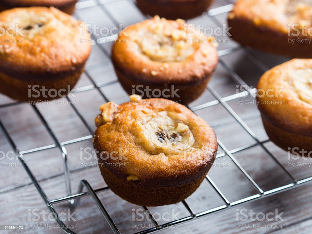 Home made banana muffins. Closeup stock photo