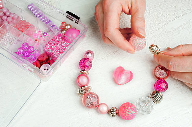 home made bead jewelry making as a hobby stock photo