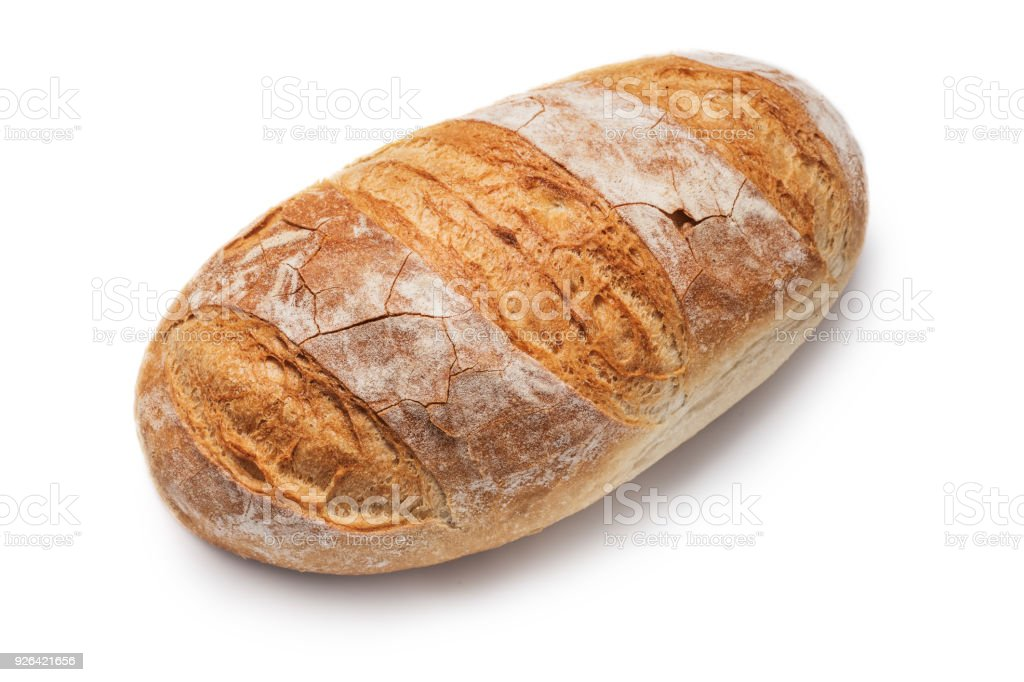 Home made bread isolated on white background stock photo
