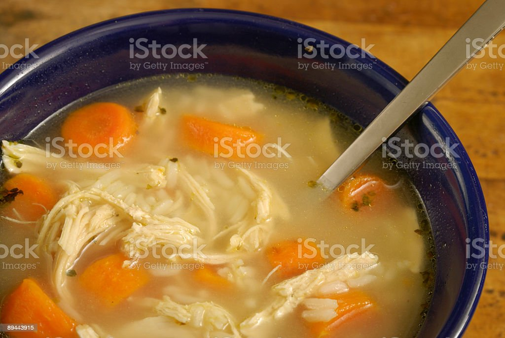 Home made Chicken Rice Soup - cropped royalty-free stock photo