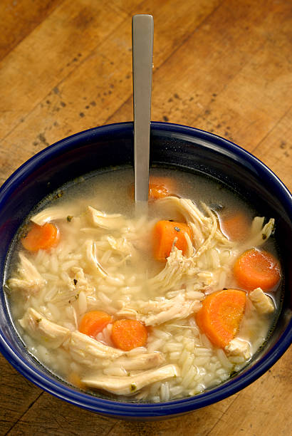 Home made Chicken Rice Soup - from above stock photo