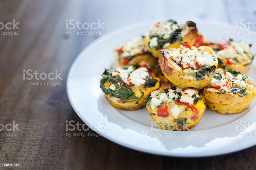 Home Made Chicken, Spinach and Egg Muffins stock photo