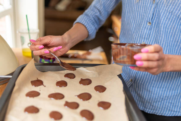 Home made chocolate buttons stock photo