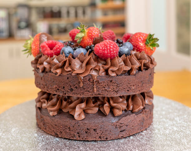 Home made chocolate cake with berry fruit stock photo
