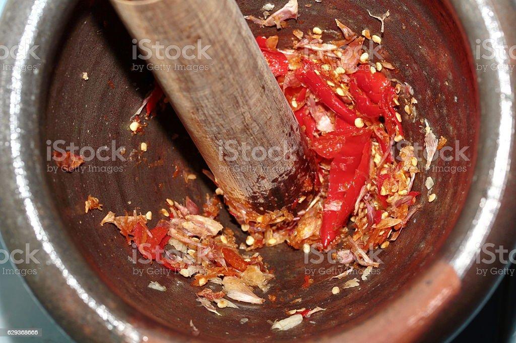Home made cooking spicy shrimp paste dip ,Nam Prik Kapi. stock photo