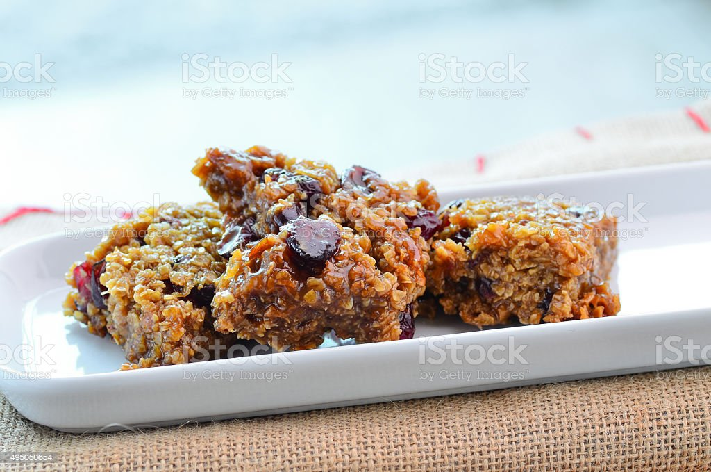 Home made cranberry flapjack stock photo