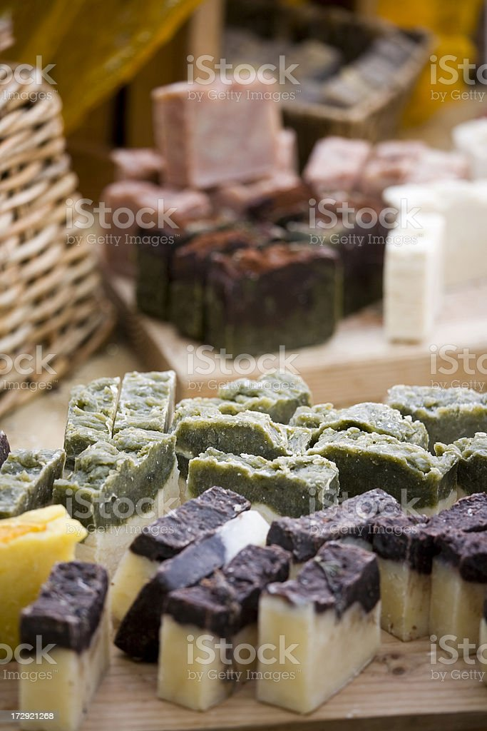 Home made expensive soaps at a farmers market royalty-free stock photo