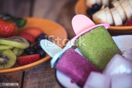 Frozen blended fresh fruits - home made organic ice cream