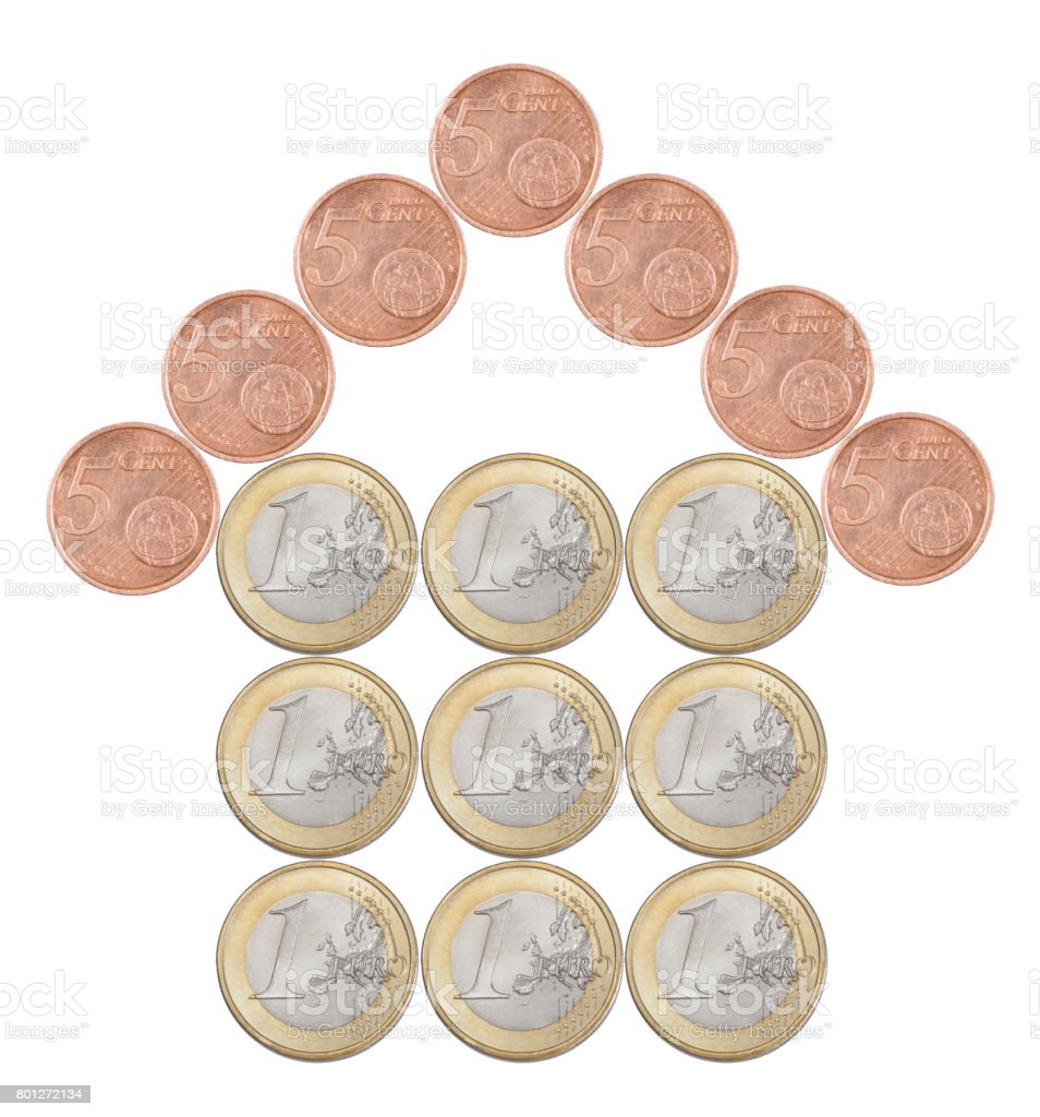 Home made from European coins stock photo