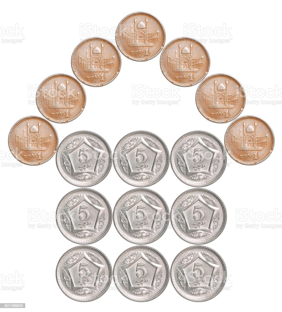 Home made from Pakistani coins stock photo