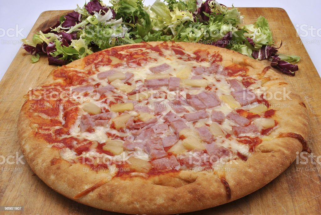 home made italian pizza with salami and cheese royalty-free stock photo