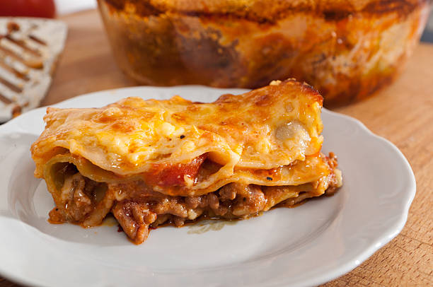 home made lasagne stock photo