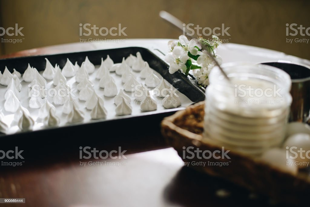 home made meringues stock photo